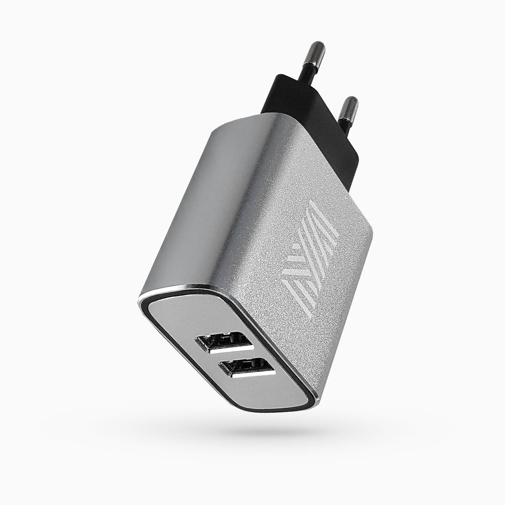 Mantidy Wall Charger Double USBx2 Ports, 3.1A Fast Charge: Metal, EU Standard
