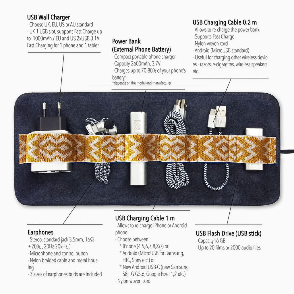 Gaucho TechRoll, Navy Blue: Mobile Phone Accessories Kit + Power Bank