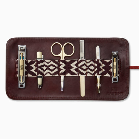Herringbone Grooming Roll, Bordeaux Red: Men's Manicure Set