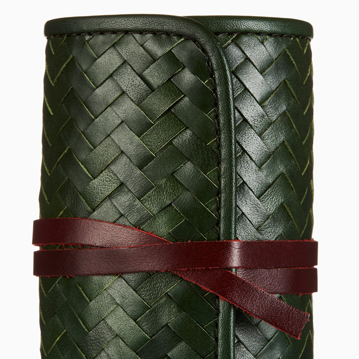 Herringbone Grooming Roll, Christmas Edition in Green: Men's Manicure Set