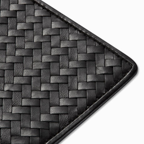 Handwoven Passport Holder, Black: Herringbone Cover