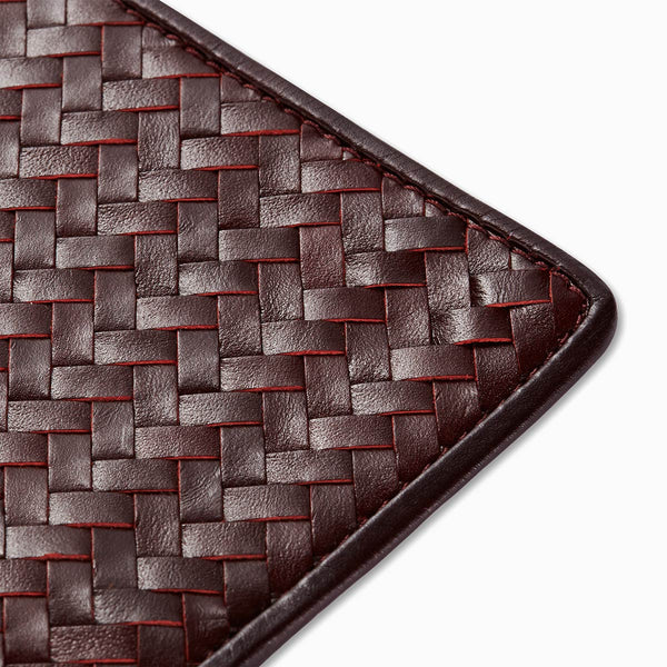 Handwoven Passport Holder, Bordeaux Red: Herringbone Cover