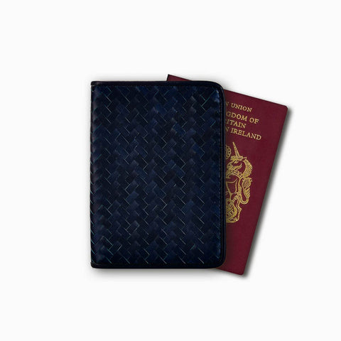 Handwoven Passport Holder, Navy Blue: Herringbone Cover