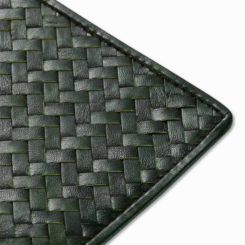 Handwoven Passport Holder, Racing Green: Herringbone Cover