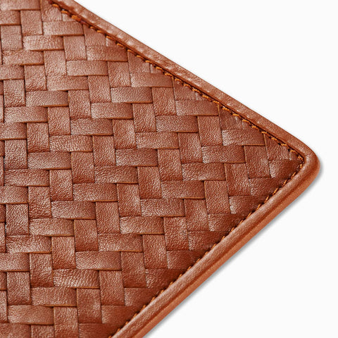 Handwoven Passport Holder, Tan: Herringbone Cover