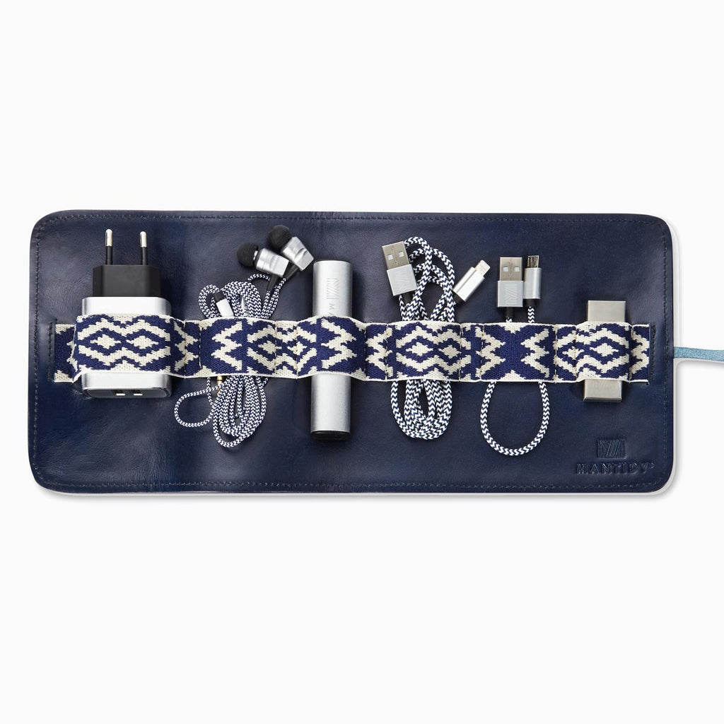 Herringbone TechRoll, Navy Blue: Mobile Phone Accessories Kit + Power Bank