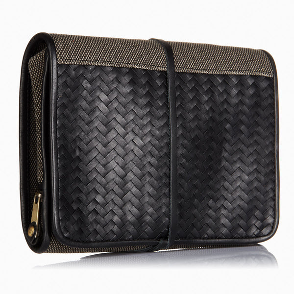 Herringbone Toiletry Wash Roll, Black