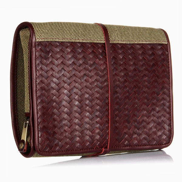Herringbone Toiletry Wash Roll, Bordeaux Red