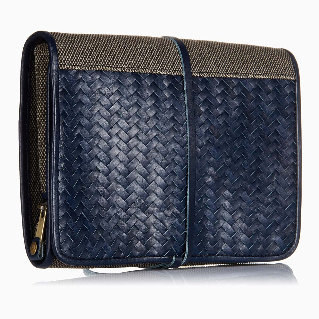 Herringbone Wash Roll, Navy Blue: Men's Toiletry Hanging Travel Bag