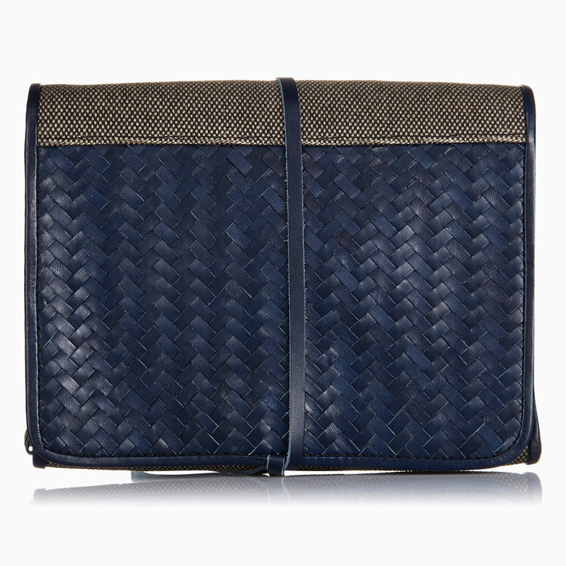Herringbone Toiletry Wash Roll, Navy Blue