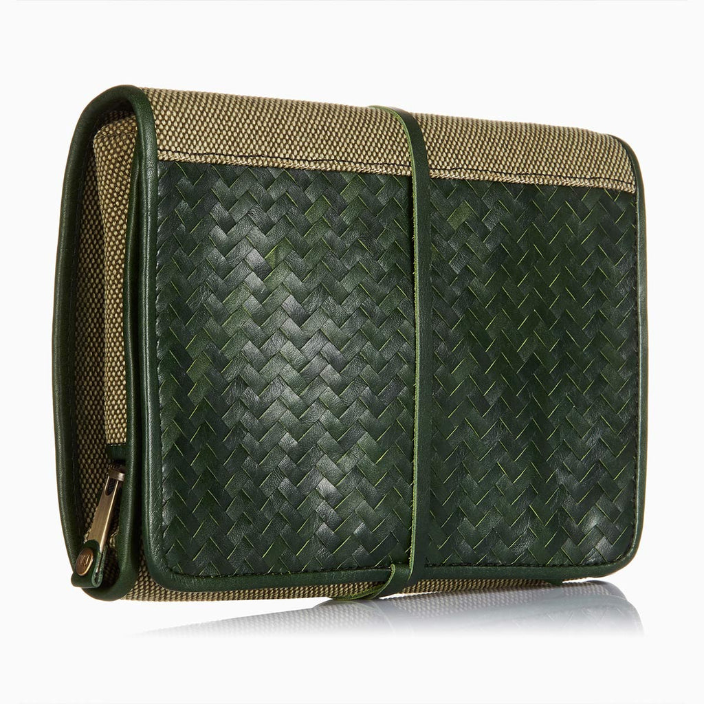 Herringbone Wash Roll, Racing Green: Men's Toiletry Hanging Travel Bag