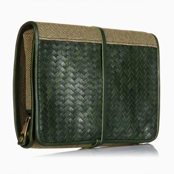 Herringbone Toiletry Wash Roll, Racing Green