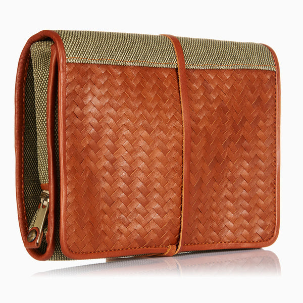 Herringbone Toiletry Wash Roll, Tan