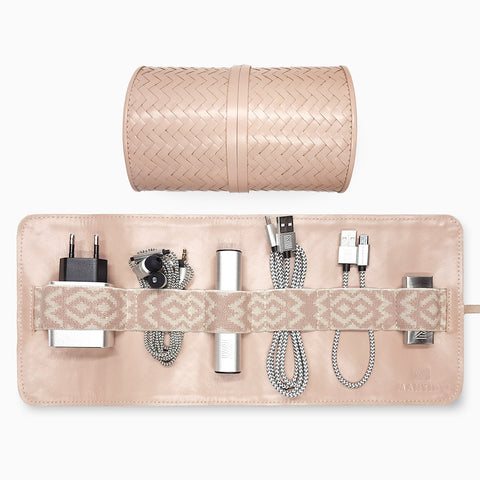 Herringbone TechRoll, Dusty Pink: Mobile Phone Accessories Kit + Power Bank