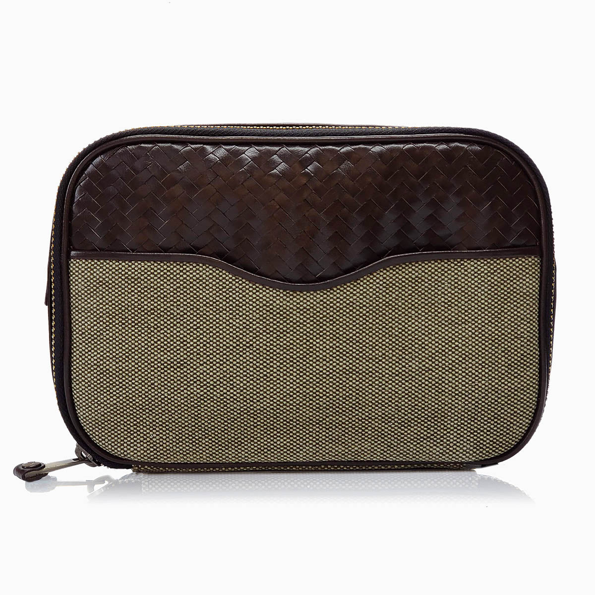 Herringbone Zip Around Wash Bag, Chocolate Brown: Men's Toiletry Travel Bag