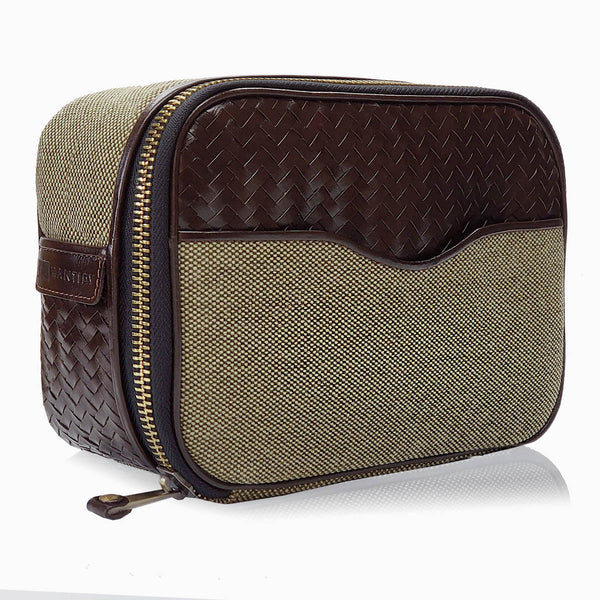 Herringbone Zip Around Toiletry Wash Bag, Chocolate Brown