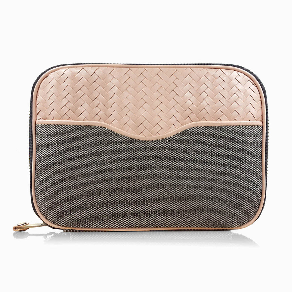 Herringbone Zip Around Wash Bag, Dusty Pink: Toiletry Travel Bag For Her