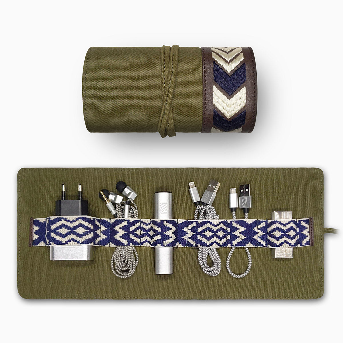 Gaucho Canvas TechRoll, Khaki: Mobile Phone Accessories Kit + Power Bank