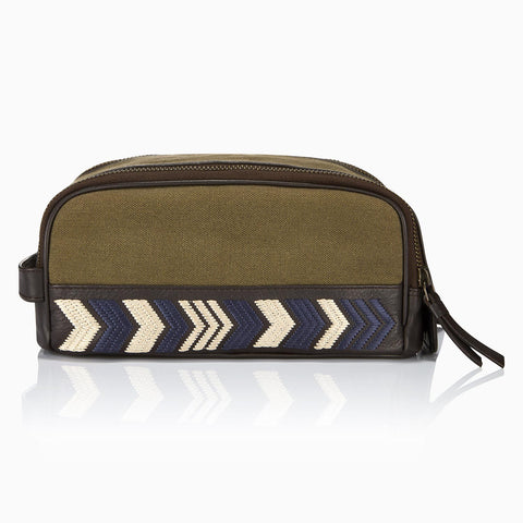 Gaucho Duo Zip Wash Bag, Khaki Canvas
