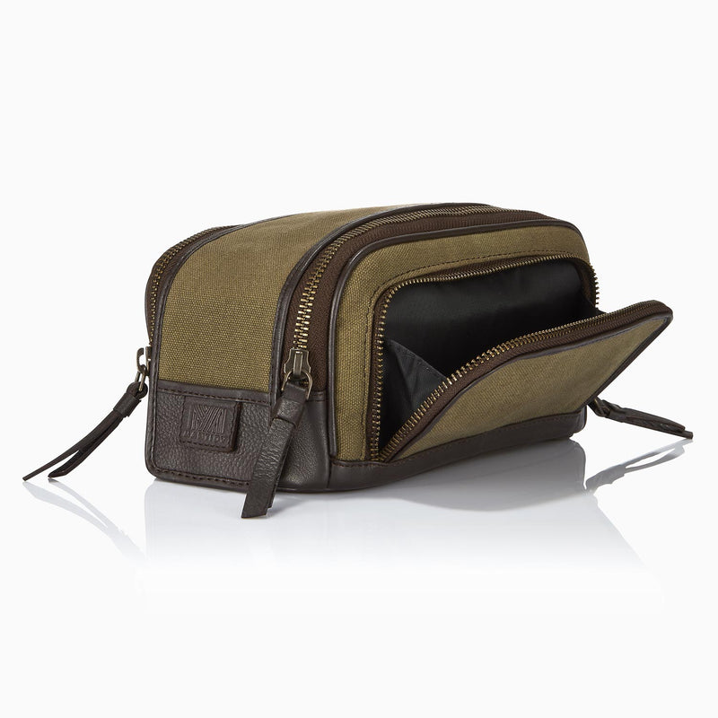 Gaucho Duo Zip Toiletry Wash Bag, Khaki Canvas