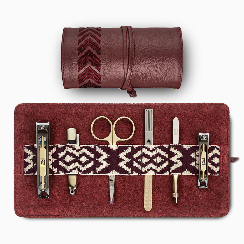 Gaucho Grooming Roll, Bordeaux Red: Men's Manicure Set