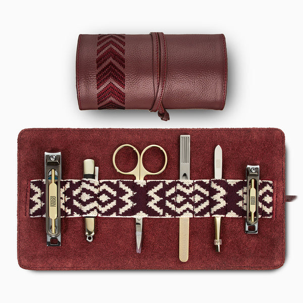 Gaucho Grooming Roll, Bordeaux Red