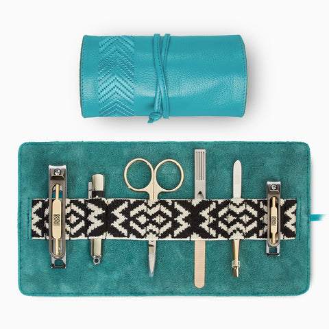 Gaucho Grooming Roll Manicure Set, Teal Blue