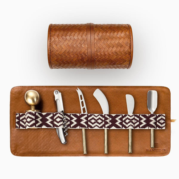 Herringbone Cheese & Wine Roll: Set of Knives, Bottle Stopper, Corkscrew