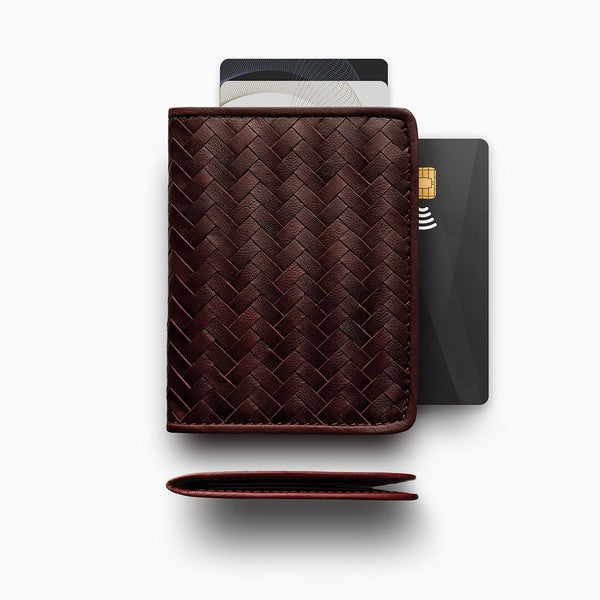 Herringbone Wallet, Bordeaux Red