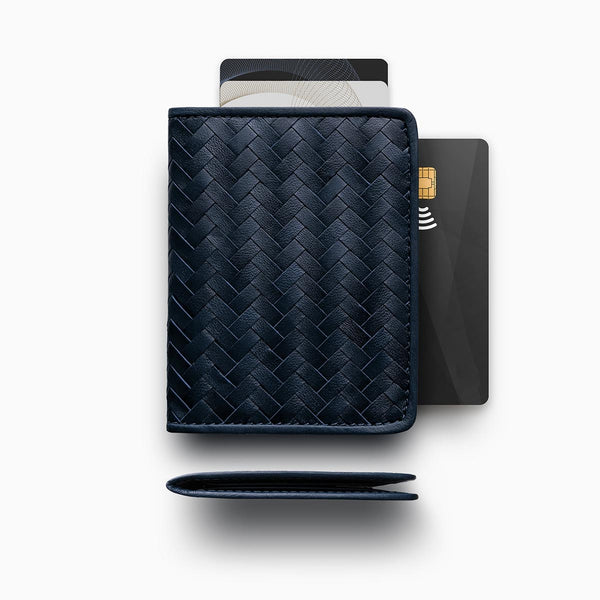 Herringbone Wallet, Navy Blue