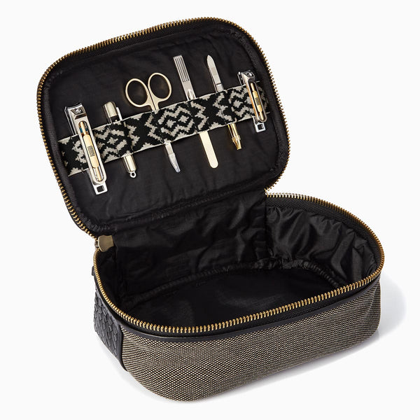 Herringbone Zip Around Toiletry Wash Bag, Black