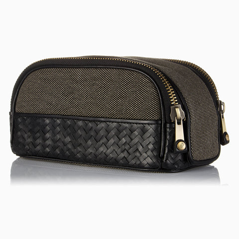 Handwoven Zip Wash Bag Black leather Men's Toiletry bath Travel Bag