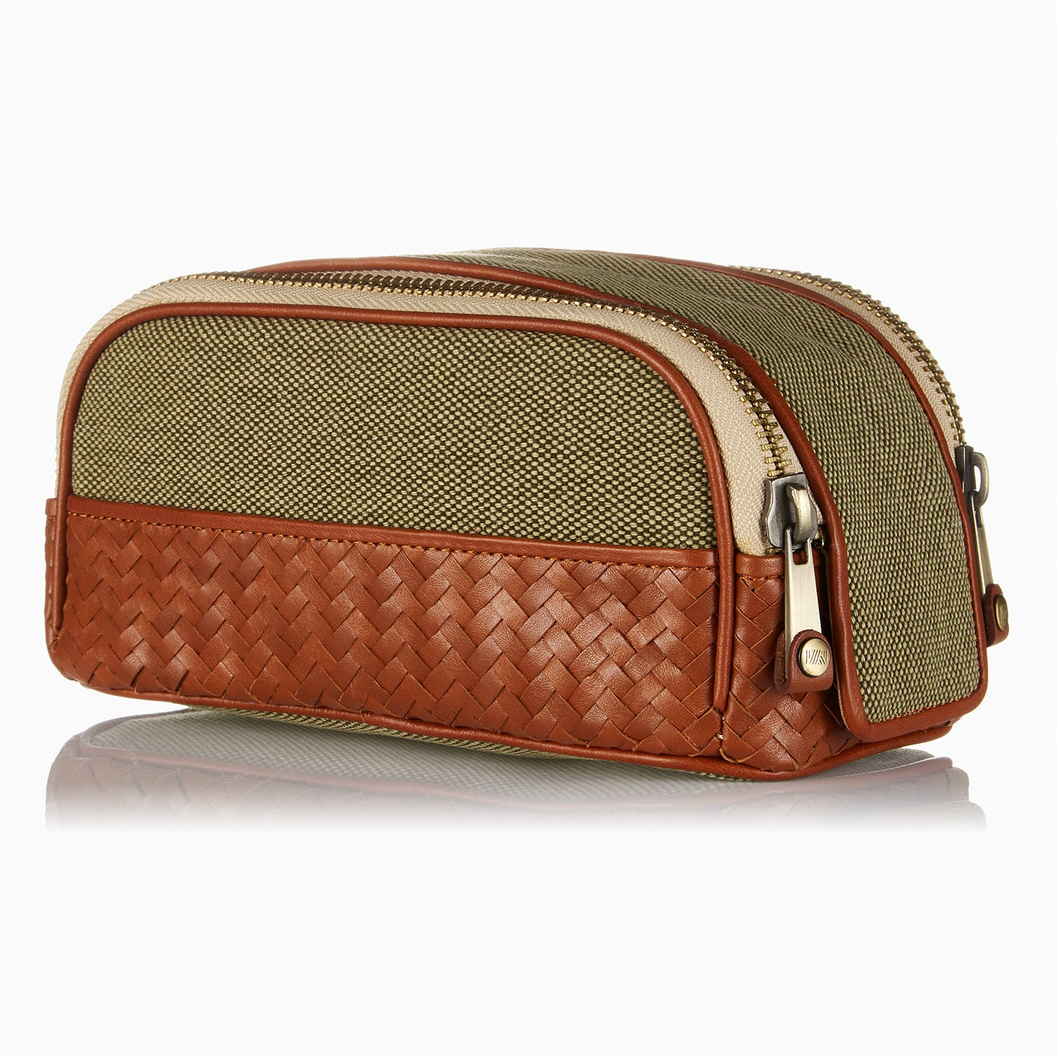 Herringbone Duo-Zip Wash Bag, Tan: Men's Toiletry Travel Bag