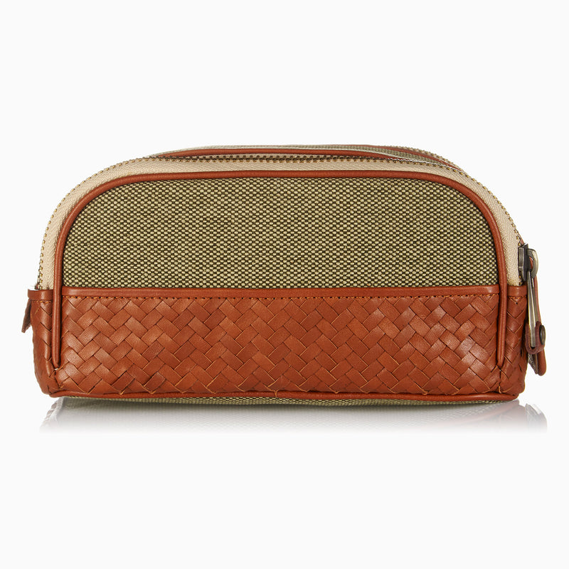 Herringbone Duo Zip Toiletry Wash Bag, Tan