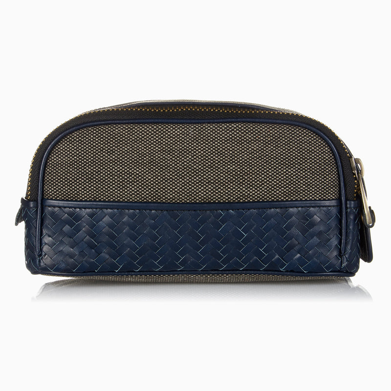 Herringbone Duo Zip Toiletry Wash Bag, Navy Blue