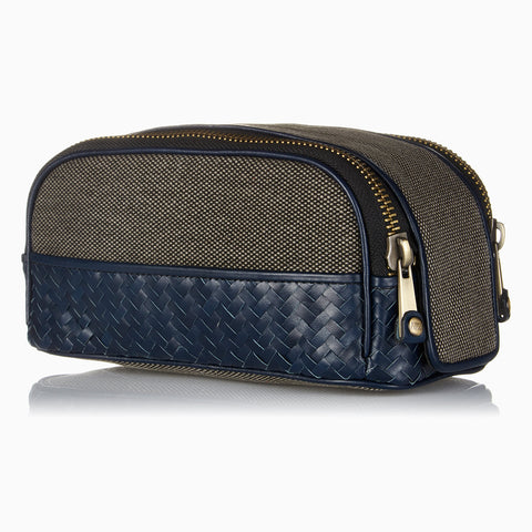 Herringbone Duo-Zip Wash Bag, Navy Blue: Men's Toiletry Travel Bag