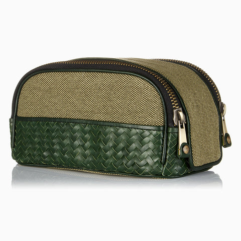 Herringbone Duo-Zip Wash Bag, Racing Green: Men's Toiletry Travel Bag