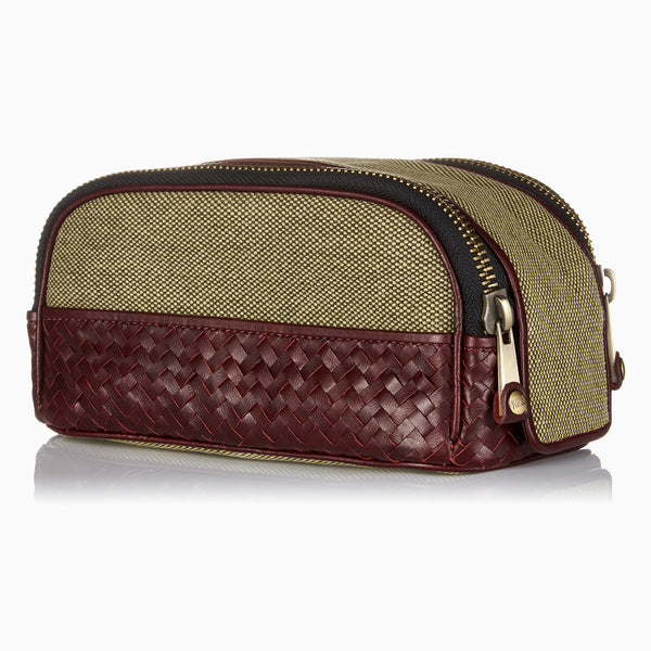 Herringbone Duo Zip Toiletry Wash Bag, Bordeaux Red