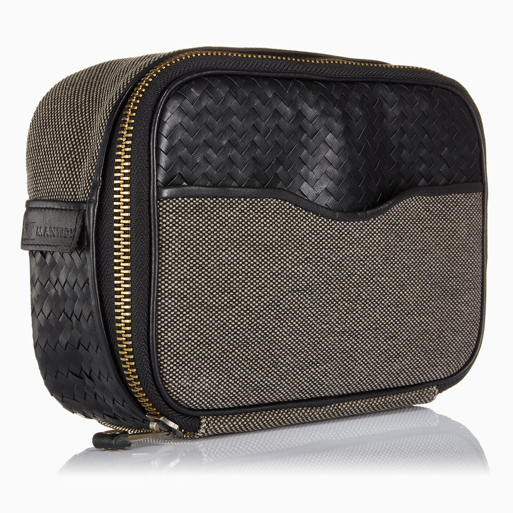 Herringbone Zip Around Wash Bag, Black: Men's Toiletry Travel Bag