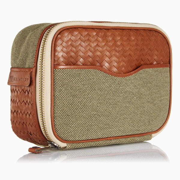 Herringbone Zip Around Toiletry Wash Bag, Tan