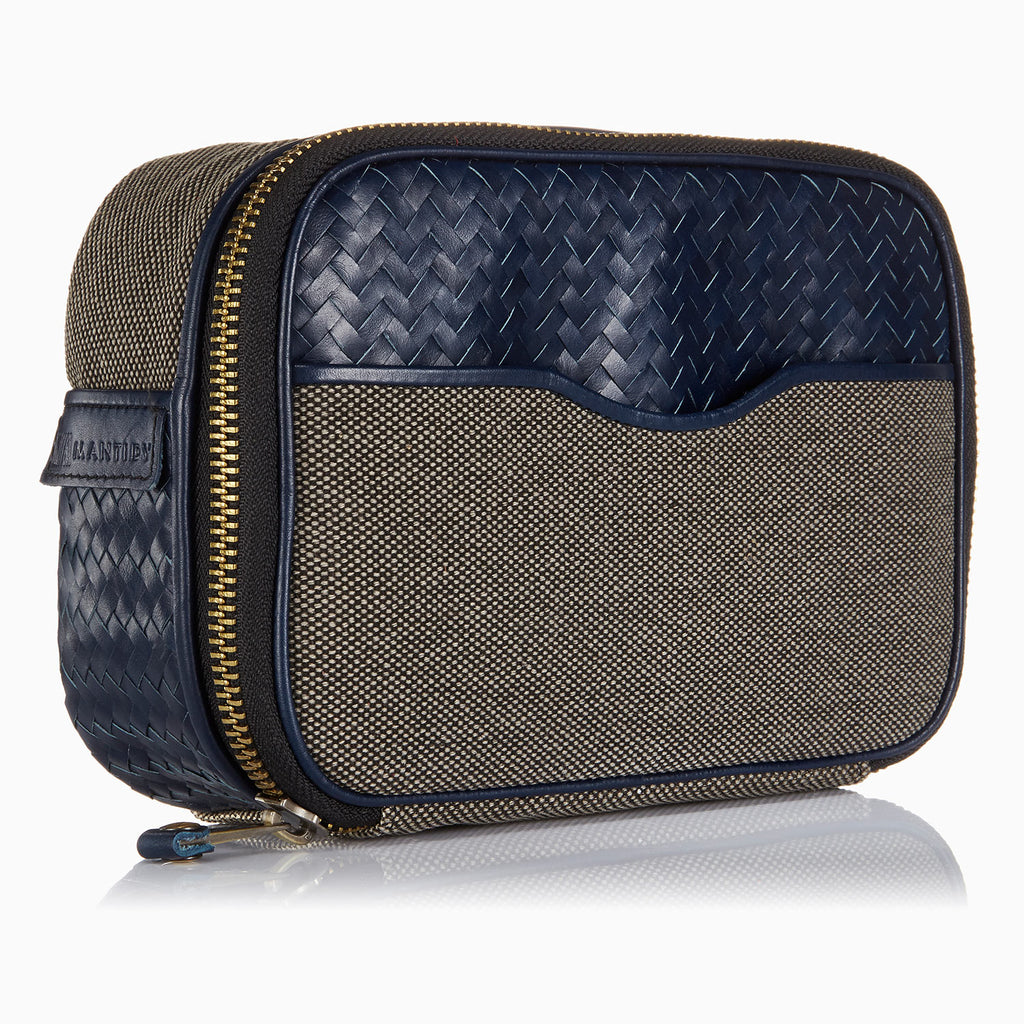 Herringbone Zip Around Wash Bag, Navy Blue: Men's Toiletry Travel Bag
