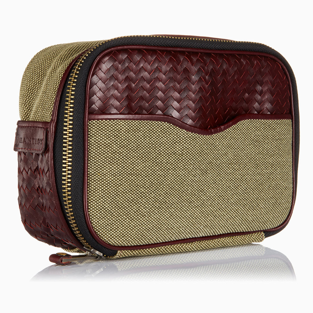 Herringbone Zip Around Wash Bag, Bordeaux Red: Men's Toiletry Travel Bag