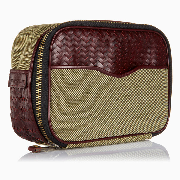 Herringbone Zip Around Toiletry Wash Bag, Bordeaux Red