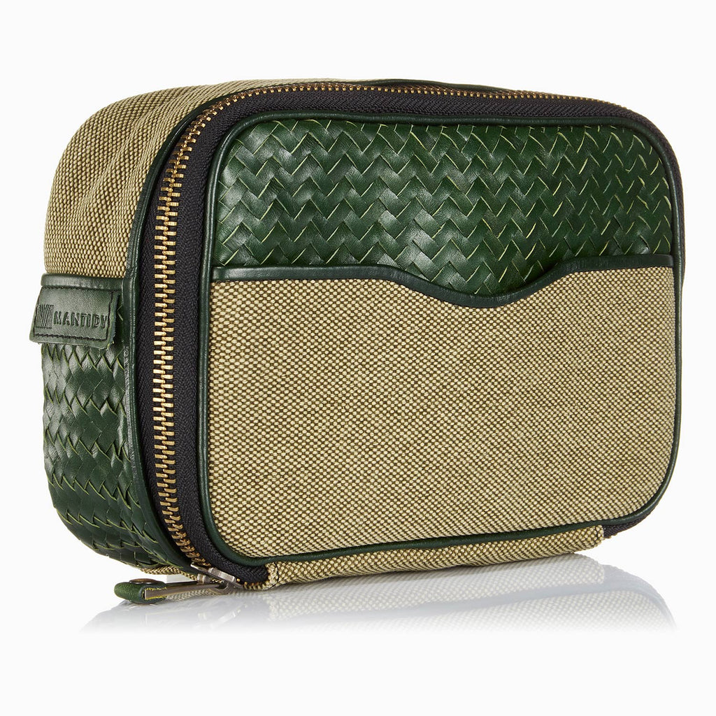 Herringbone Zip Around Wash Bag, Racing Green: Men's Toiletry Travel Bag