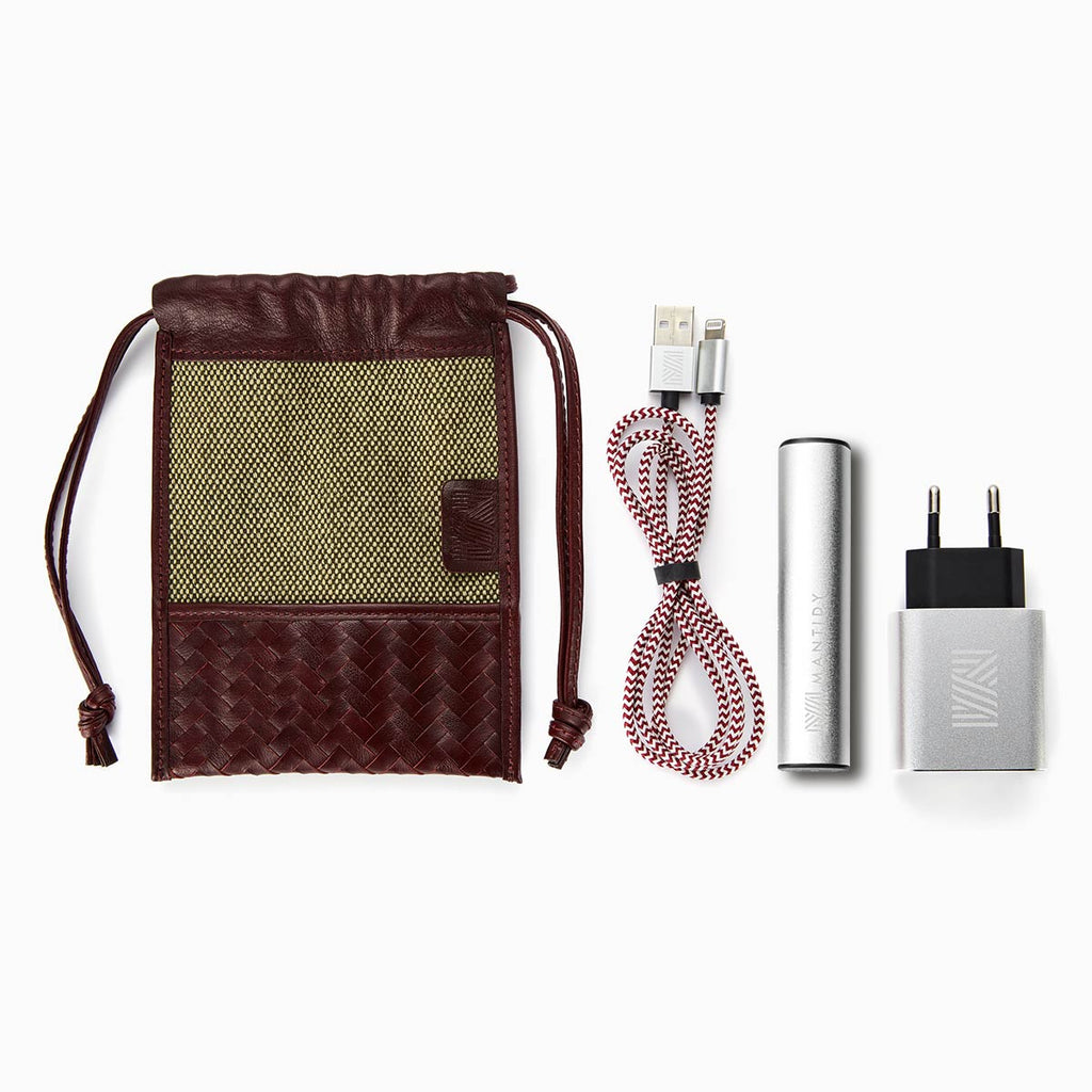 Herringbone TechPACK, Bordeaux Red: Phone Accessories Kit w Power Bank