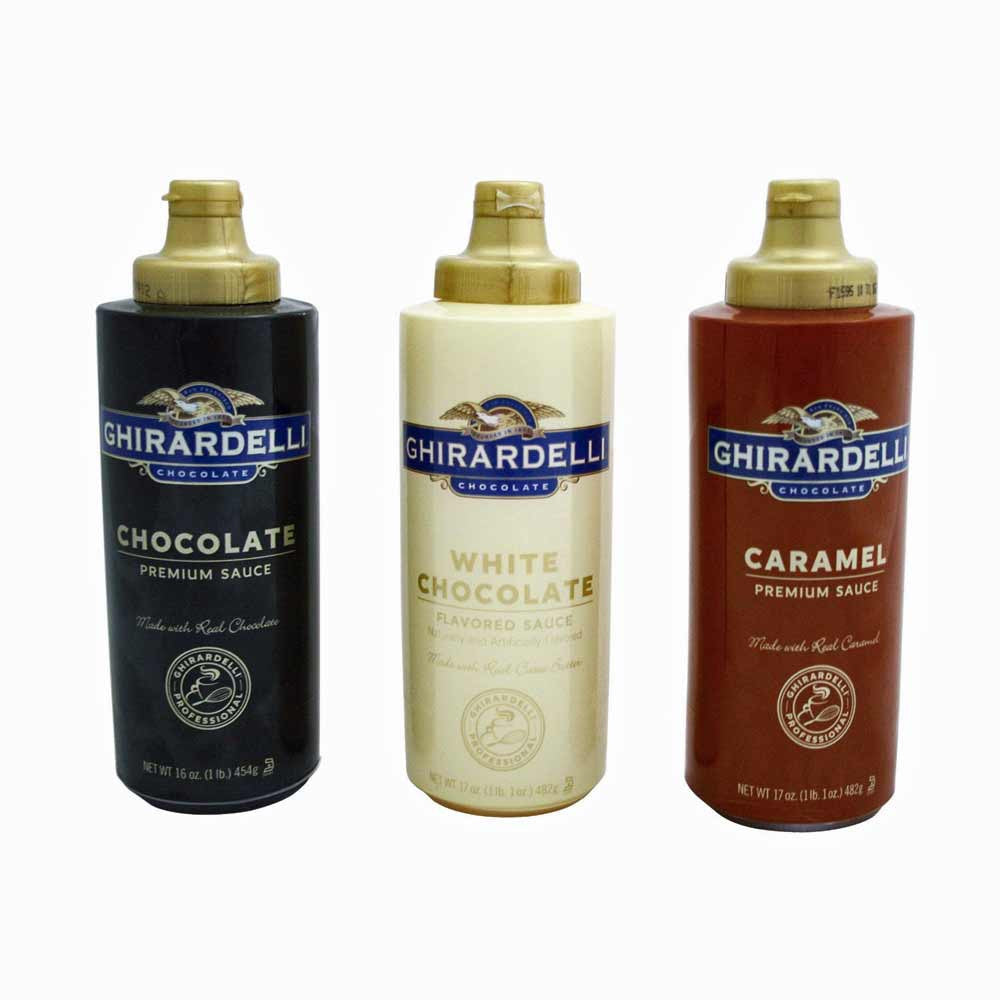 Ghirardelli Chocolate, White Chocolate, and Caramel Flavored Sauces, Squeeze Bottles Save