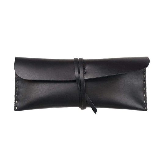 black Custom Stowaway Medium Leather Pouch