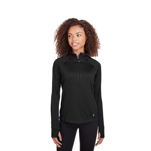 Black / XS Custom Ladies' Freestyle Half-Zip Pullover