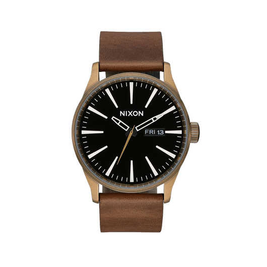Brass/Black/Brown Custom Nixon Sentry Leather Watch