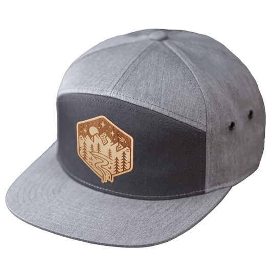 Charcoal/Heather Grey / Maple Custom Wood Patch 7-Panel Strapback Hat